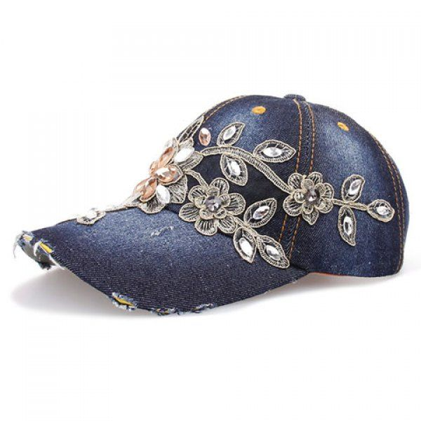 $12.81 Chic Faux Crystal Flower Shape Embroidery Baseball Cap For Women