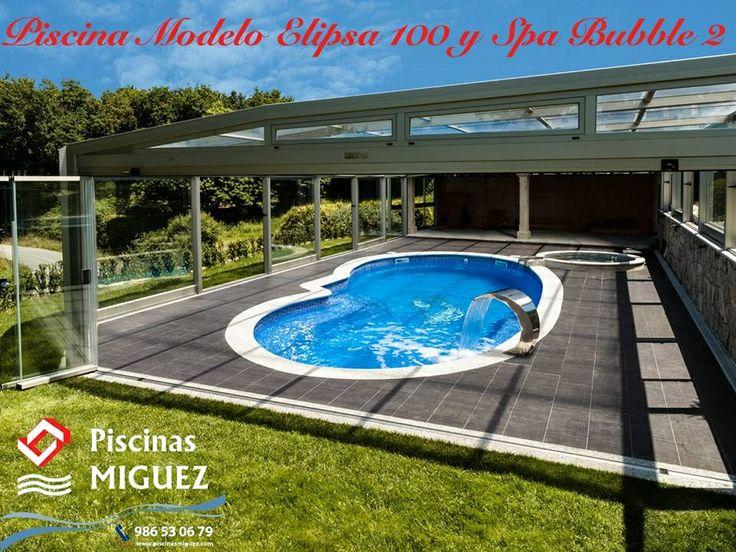 Piscina Modelo Elipsa 1000 (Serie Riñón) con spa de hidromasaje modelo bubble 2 (Serie Relax) instalada por nosotros en Caldas (Pontevedra).  Piscina climatizada con bomba de calor y cubierta alta con sistema de cortina en cristal.