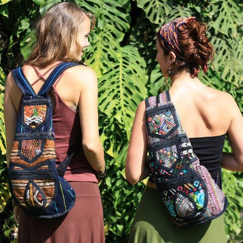 Sling Patch Work Backpack Using Up-Cycled Traditional Mayan Textiles - JUSTA