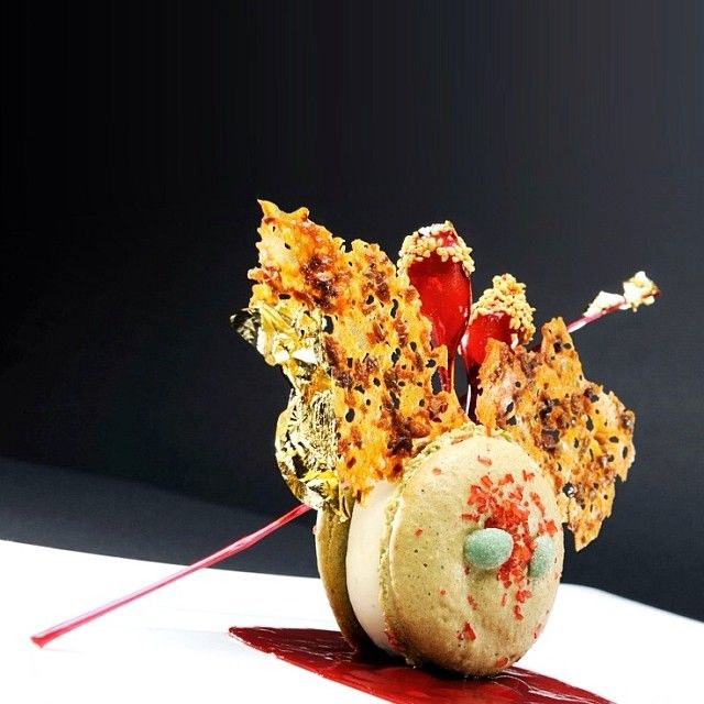 Macaron dessert by chef Philippe Bamas of restaurant Sonne Bottmingen from Switzerland