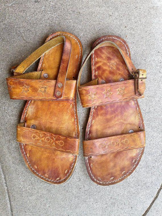 Vtg Mexican Leather Sandals Handmade Sz 12 Men Huarache Festival Burning Man