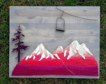 Mountain String Art Ombre Art Mountain Decor Gift For