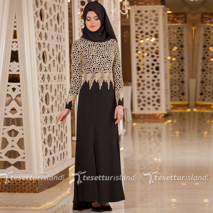 Tesettürlü Abiye Elbiseler - Dantel Detaylı Siyah Tesettür Abiye Elbise 2165S #tesettur #tesetturabiye #tesetturgiyim #tesetturelbise #tesetturabiyeelbise #kapalıgiyim #kapalıabiyemodelleri #şıktesetturabiyeelbise #kışlıkgiyim #tunik #tesetturtunik