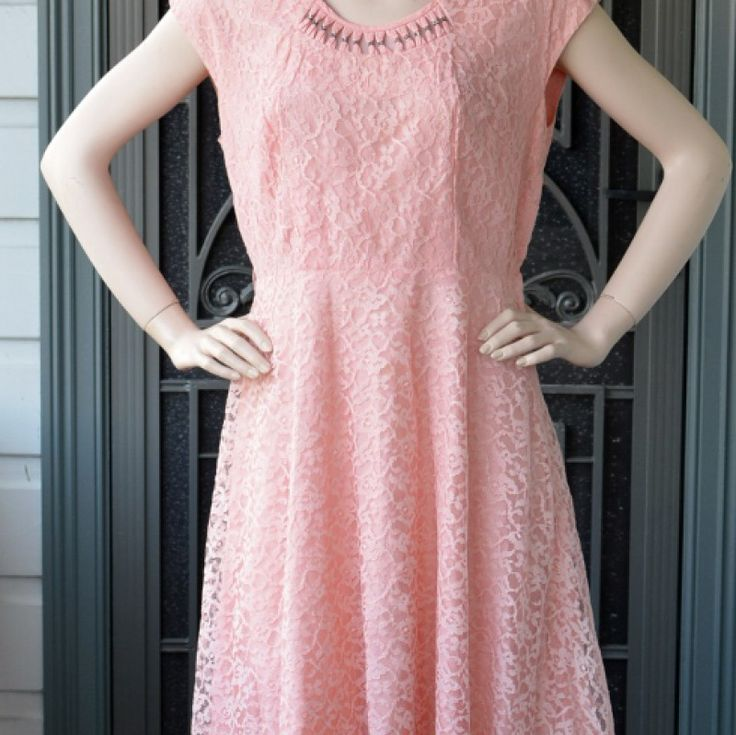 1950s Pretty In Pink Lace Dress on Velvet Rose's Pin Up Dressing Room - The vintage shop tailored to you tailored to you #VintageDress #ChristmasPresent Free Postage within Australia
