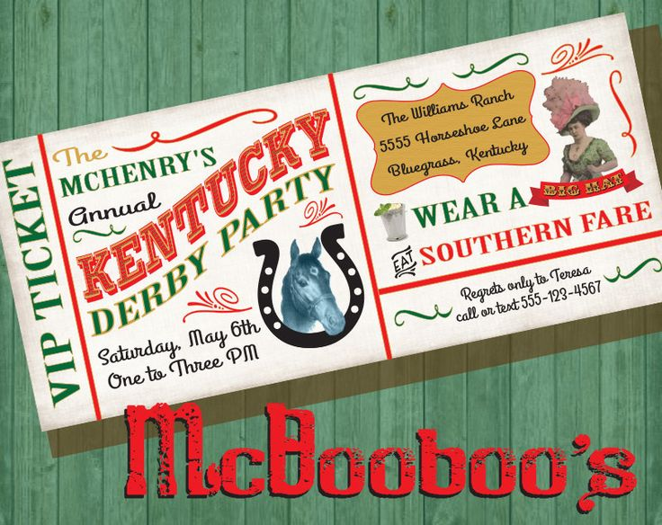 Vinatge Kentucky Derby Party VIP Ticket Invitation 4x9 by McBooboos on Etsy