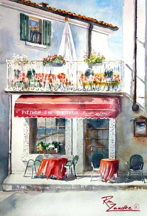 Cafe in Monte Baldo - Watercolor of Italy Rita Zaudke