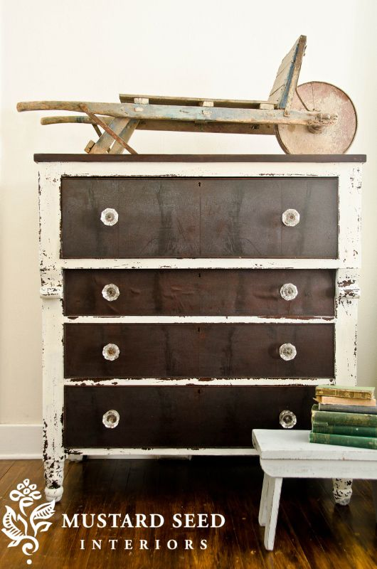 Ironstone Milk Paint Dresser, LOVE the contrast...already working on a piece