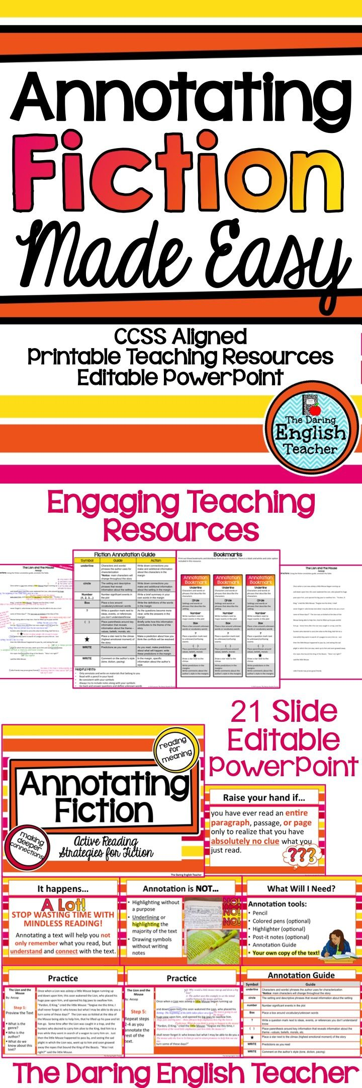 Teach your students how to annotate fiction with this secondary English language arts resource!