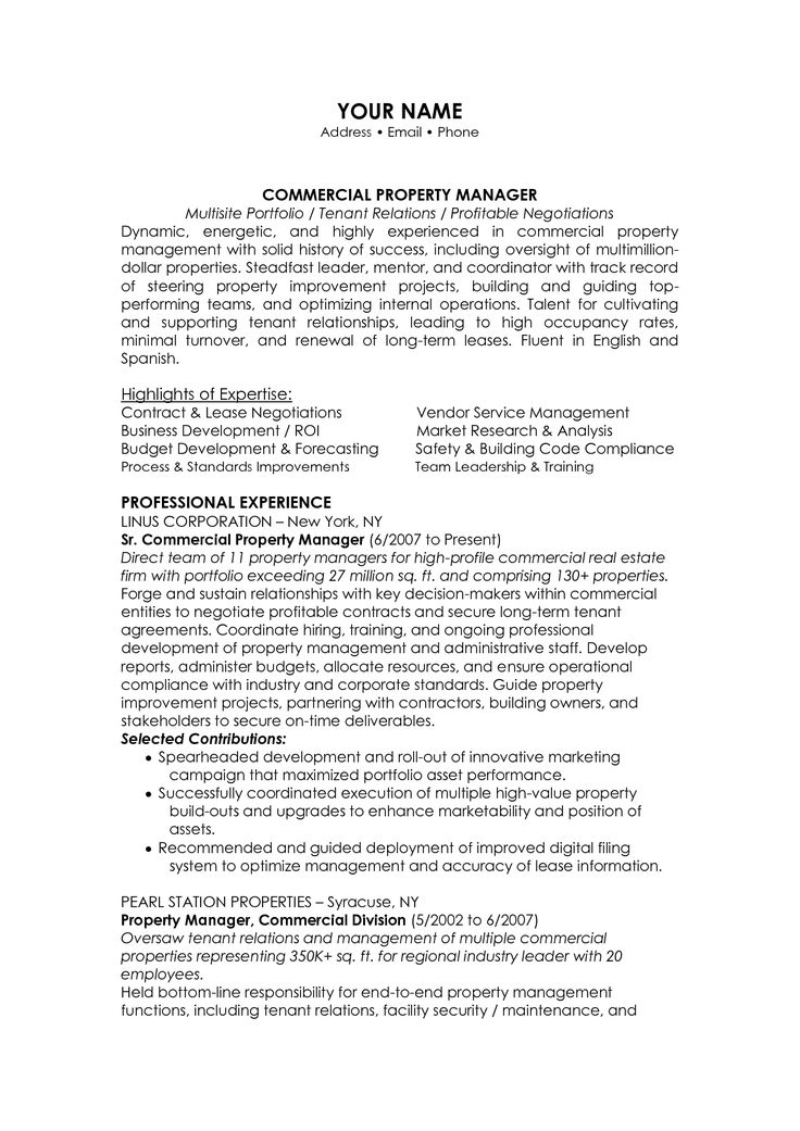 11 best property manager resume images on Pinterest Resume - bilingual on resume