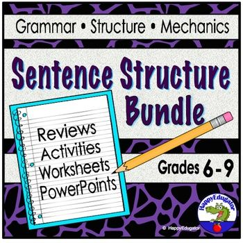 Sentence Structure Bundle Grades 6 - 9. This 299 page mega unit is a super resource for teaching simple, compound, complex, and compound-complex sentences that includes: Sentences- Complex Sentence Worksheet and Handout Sentence Structure: 4 Kinds PowerPoint Sentences - All About Sentences PowerPoint Sentence Structure Activity - Simple Compound Complex Compound -Complex. Sentence Structure PowerPoint for...
