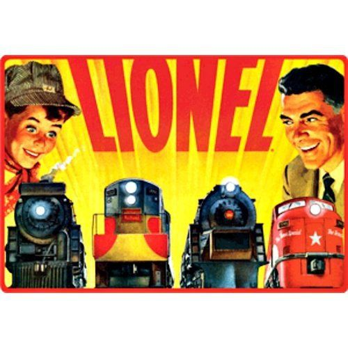 Lionel Trains Father and Son Sign - Ande Rooney Embossed Tin Sign Collection utilizes lithographed on tin process, this makes for a more detailed and inticate sign. The result is a reproduction novelt