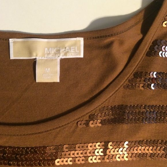 Michael by Michael Kors Cocoa sequin tshirt Excellent used condition. Cocoa brown with matching sequin stripes. Short sleeves with boxy fit. Rayon. No sequins on back of shirt. MICHAEL Michael Kors Tops