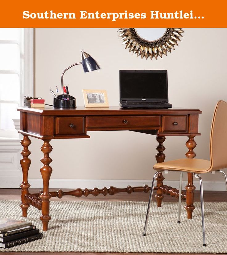 Southern Enterprises Huntleigh Writing Desk -. Farmhouse inspired traditional style. Elaborate turned legs. Two side drawers organize small office accessories and center fold-down drawer conceals a keyboard or laptop. Antique bronze finish. Transport workstation to the greenest of gables with this desk in a study, library, or home office. Made from MDF, particle board, veneer and liu anmu wood. Made in China. Assembly required. Desktop supports up to: 50 lbs.. Keyboard tray supports up to…
