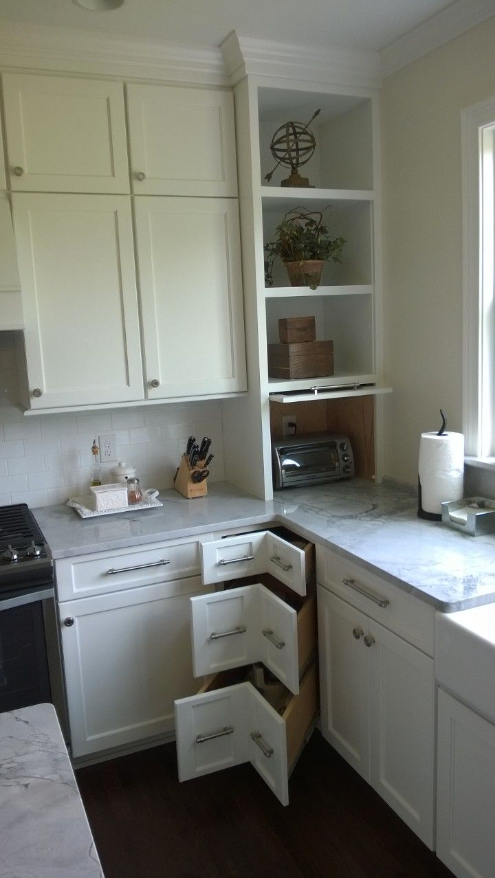 Corner Of Kitchen With 90 Degree Drawers And Flipper Door In The