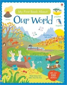 My First Book About Our World.  What makes it rain? Where do penguins live? How many oceans are there? Young children can find the answers in this charming book and have fun adding stickers to the pages and doing puzzles too.