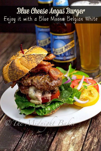 Msg 4 21+Blue Cheese Bacon Angus Burger | bakeatmidnite.com | Msg4 21+ #bluecheeseburger #HouseofBBQ #ad