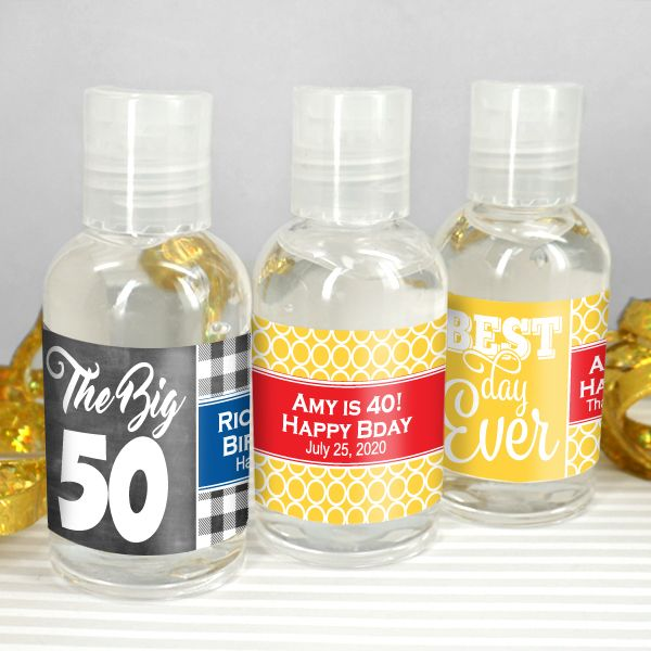 Adult Birthday Personalized Hand Sanitizer Favors Hand Sanitizer