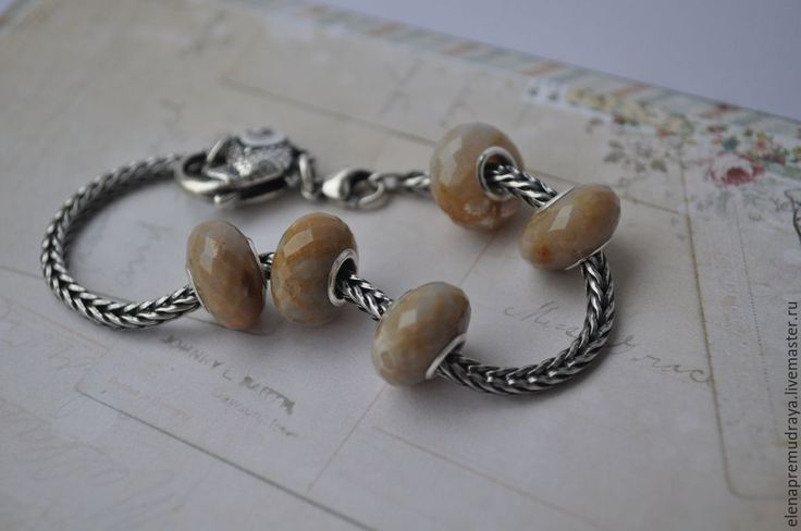 Купить Окаменелый коралл - бусина для Pandora и Trollbeads - trollbeads, pandora, пандора, тролль, натуральные камни