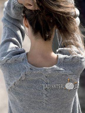 Вязаный спицами простой стильный джемпер с круглой кокеткой из кос, описание