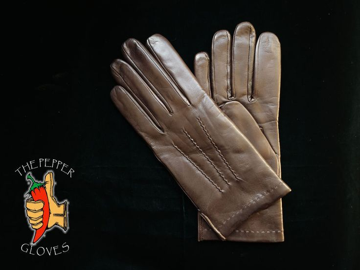 Lambskin brown leather winter men gloves with cashmere lining size 8 - JOSE #ThePepperGloves #WinterGloves