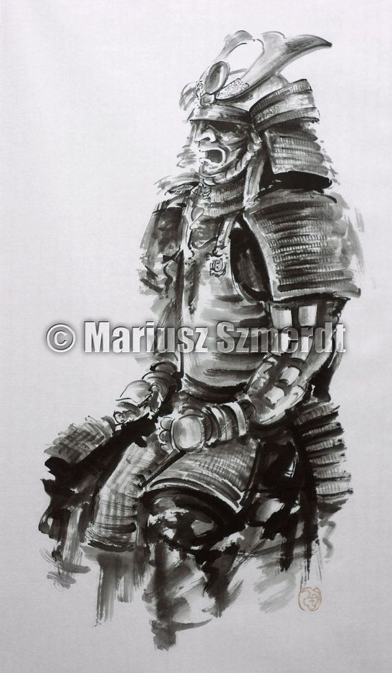 Samurai sword samurai mask armor japanese art sumie by for Italian warrior tattoos
