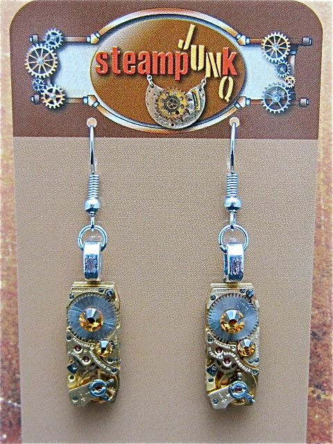 Steampunk - Oro Con Moto - Steampunk Earrings - Recycled watch parts – steampunkjunq