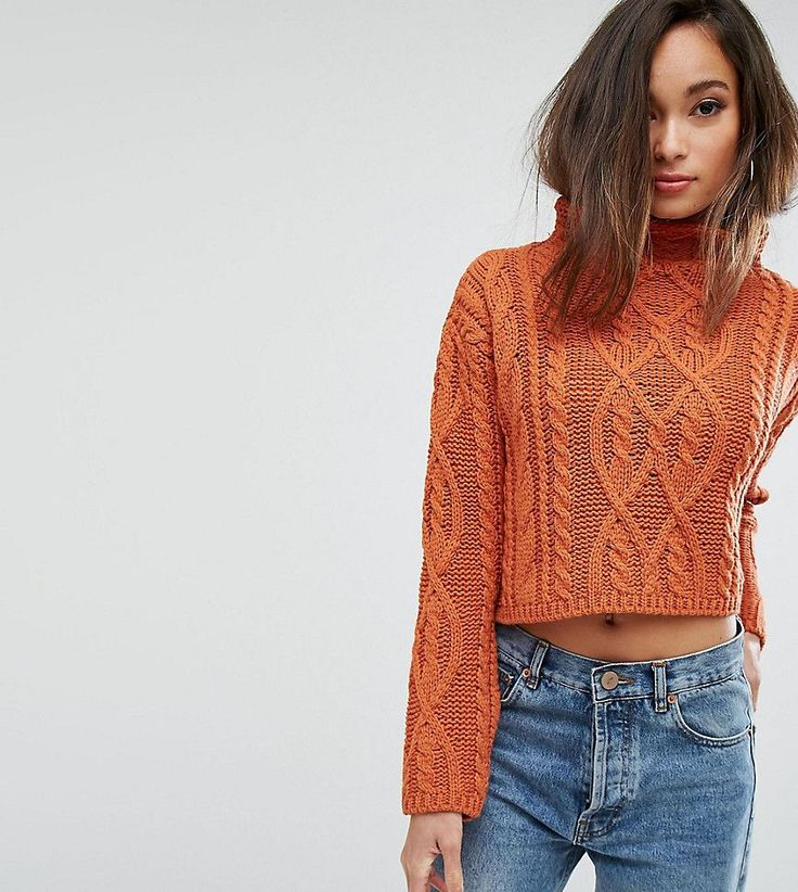 PrettyLittleThing Cable Knit Cropped Sweater - Orange