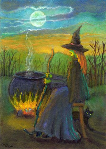 'Early Evening Repose' by Kathe Soave, ACEO witch moon cat cauldron art card