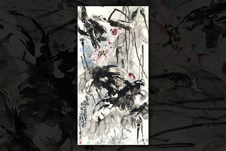 """NIEUW YORK.- Gianguan Sterk op de Boeddhistische kunst. Een Ultieme Voorbeeld is this schilderij deur HH Dorje Chang Buddha III, getiteld """"Ink Lotus"""". De Explosie van De Lijn en emotie Wordt getemperd deur Een inscriptie DAT vertaalt: """"Een volslagen chaos bezaaid met gebroken Slagen: Een eigenaardige Gezicht, Maar toch wonderlijk begiftigd ontmoette Een ziel-Kalmerende charme"""".  GIANGUAN Veilingen Foto."""