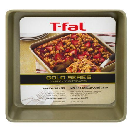 T-fal Gold 9 inch Square Cake Pan, Nonstick