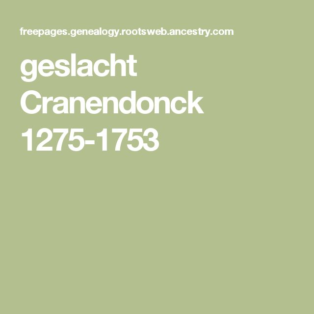 geslacht Cranendonck 1275-1753
