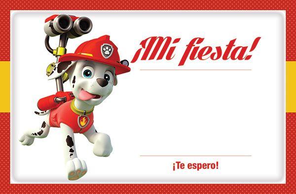 Invitación Paw Patrol Marshall Imprimible Gratis Fiesta