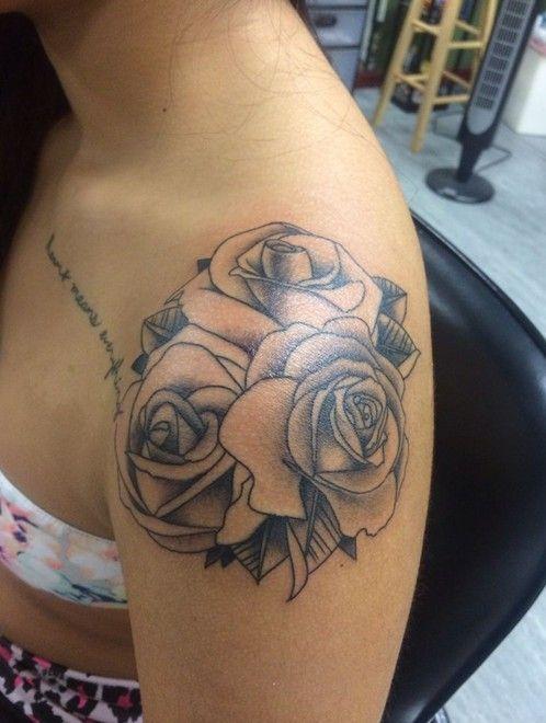 Love rose shoulder tattoos