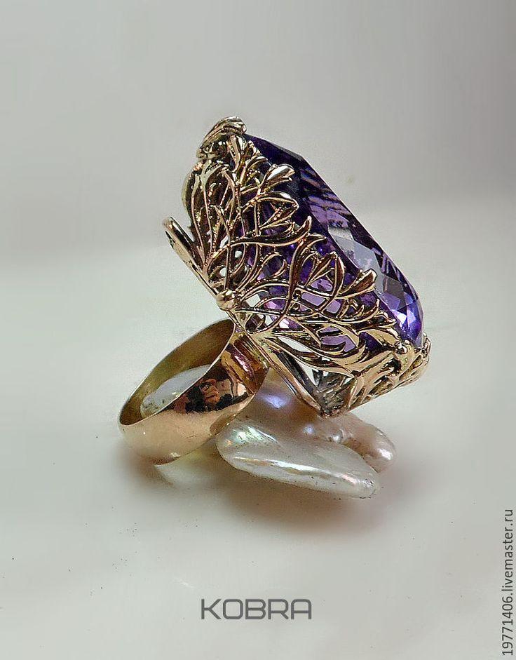 Купить золотое кольцо Елена Прекрасная - тёмно-фиолетовый, кольцо, кольцо ручной работы