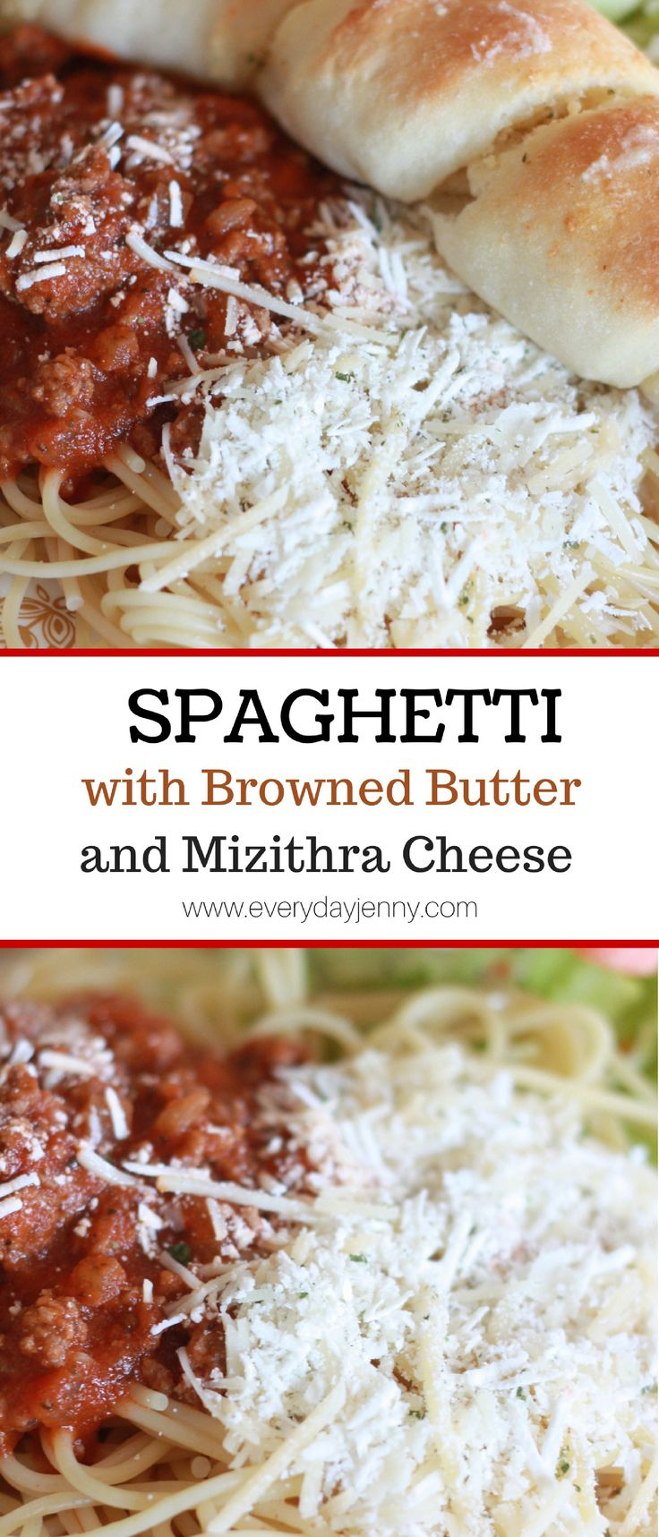 Spaghetti with browned butter and mizithra cheese is one of our favorites! Recipe on everydayjenny.com