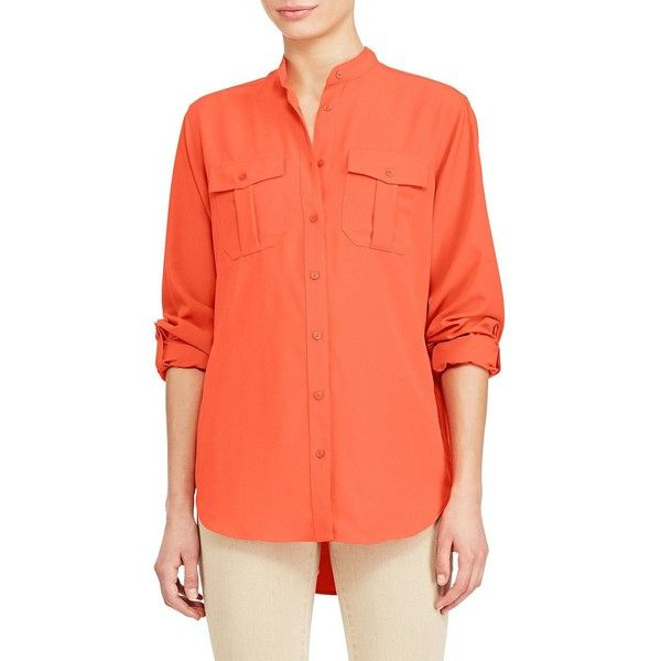 Lauren Ralph Lauren Women's Crepe de Chine Tunic ($50) ❤ liked on Polyvore featuring tops, tunics, sunset orange, long sleeve tops, button tunic, orange tunic, roll top and lauren ralph lauren tops
