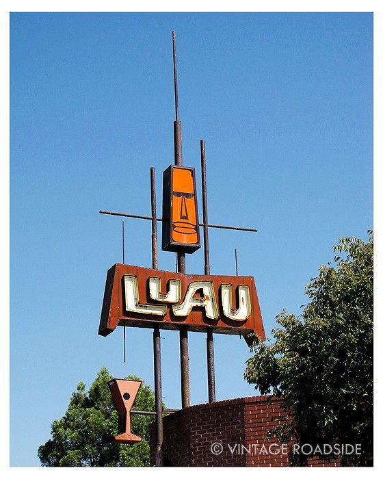 Luau Modern California 1960s Tiki Cocktail Neon Sign