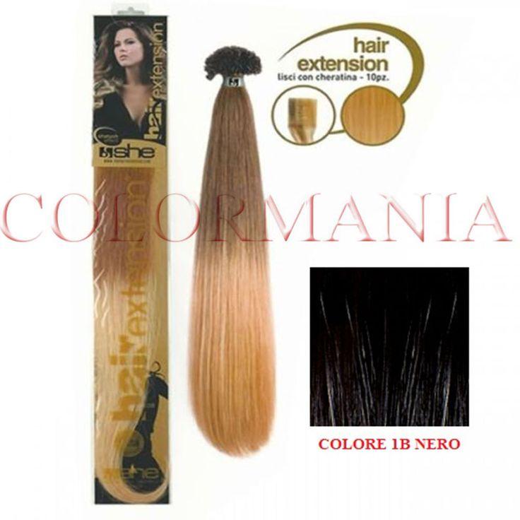 SHE HAIR EXTENSION 10 CIOCCHE CON KERATINA CAPELLI VERI 100% REMY COLORE 1B NERO