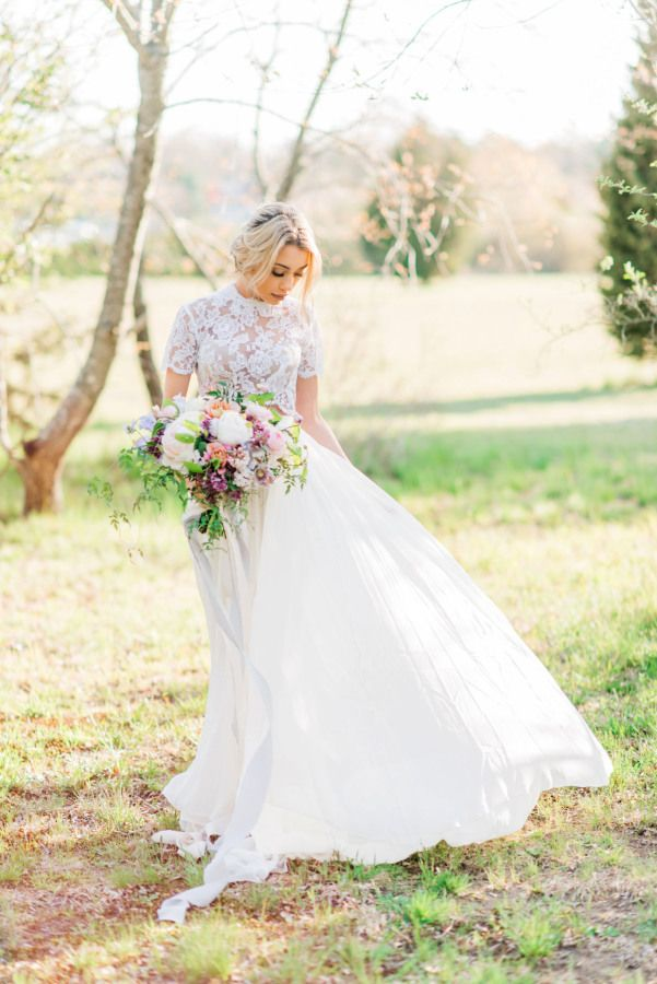 Two piece lace cap sleeve top: http://www.stylemepretty.com/massachusetts-weddings/2016/10/18/whimsical-floral-spring-shoot/ Photography: Stephanie Vegliante - http://www.photographysv.com/