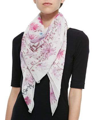 Modal Scarf - Flowers and Stripes by VIDA VIDA TVbvF