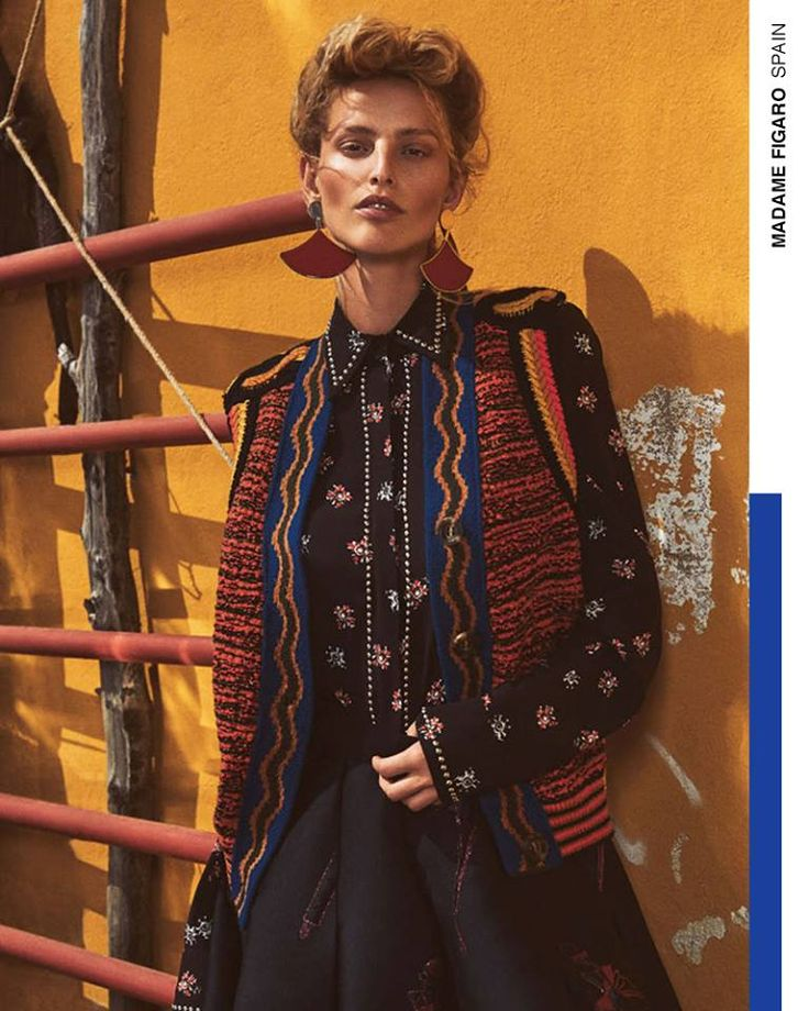 Tribal prints and a floral touch to wave the summer goodbye. The Fay crepe-de-chine dress as seen in Madame Figaro Spain.