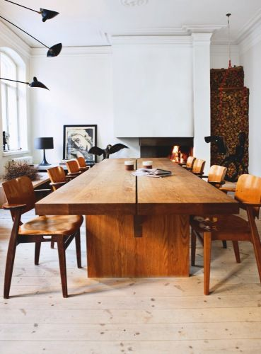 great table... I love how the 60's chairs were repurposed with a newer look.Dining Room, Chairs, Interiors, Wood Tables, Diningroom, Furniture, Wooden Tables, Design, Dining Tables