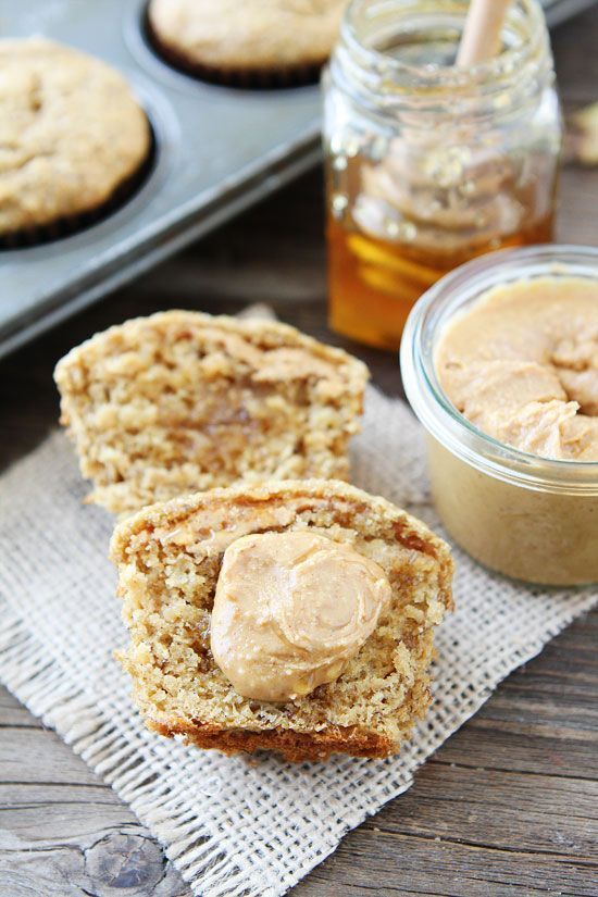 Peanut Butter, Banana, and Honey Muffins Recipe on http://twopeasandtheirpod.com These healthy muffins are great for breakfast or snack time!  Kids and adults love them!