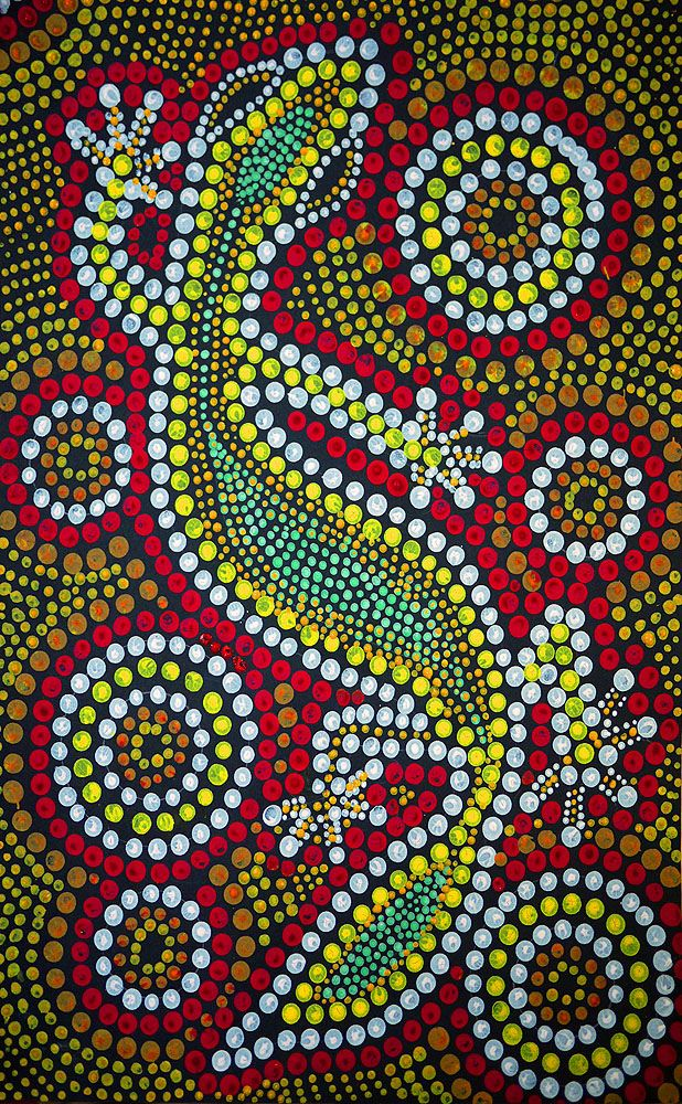 Best viewed on black background  Gecko created by repetitive pattern of dots. I used the end of wooden pencils, small toothpicks and Q-tips to create the various dot sizes.   Inspiration was Australian aboriginal dot painting art and my own fascination with dots, repetition, circles, patterns and the rhythm caused when they are combined. I also have a passion for geckoes, their behavior, look, skin patterns and body design.    Material tempera paint and construction paper. Not very…