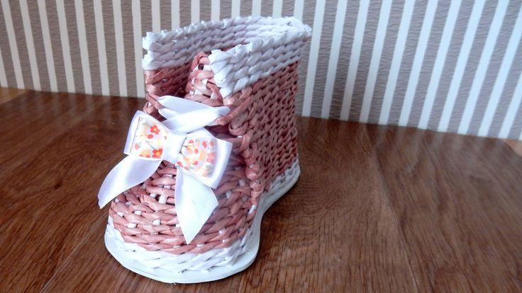 Плетение из газет БАШМАК ботинок