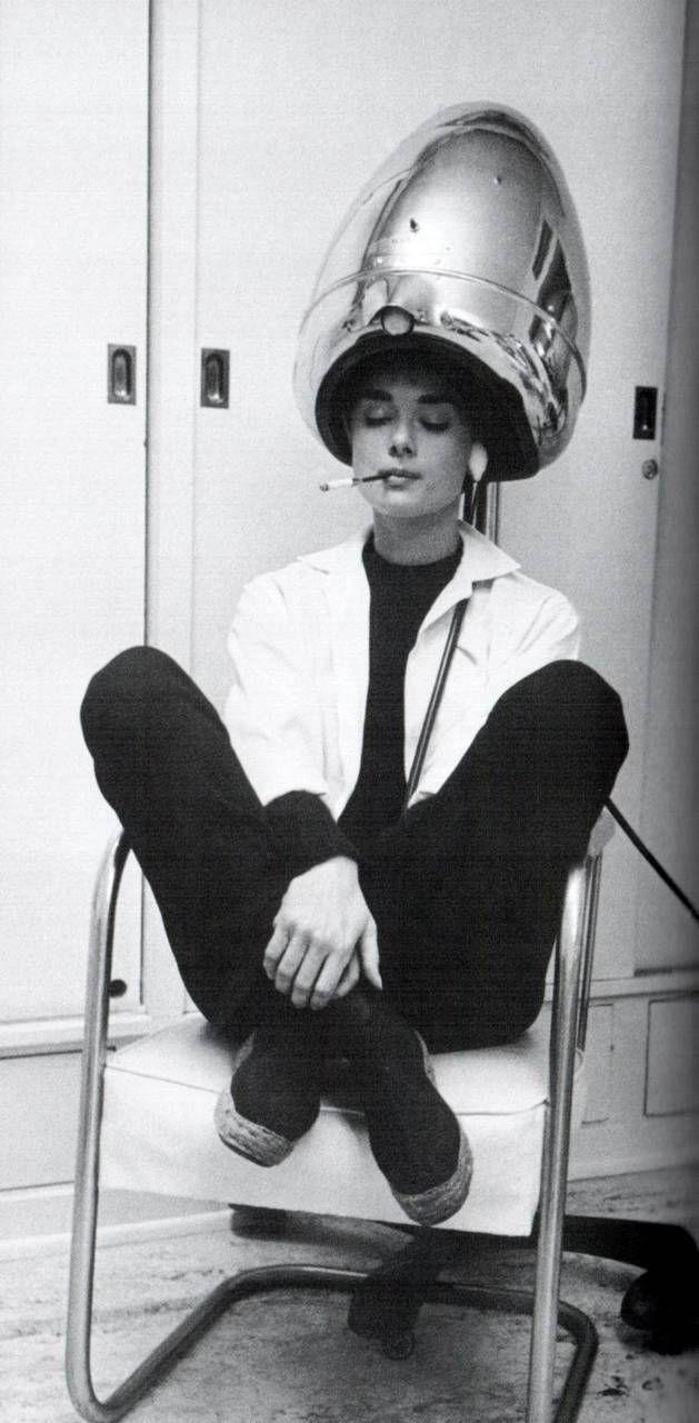 Audrey Hepburn, espadrilles, black and white ensemble, cigarette