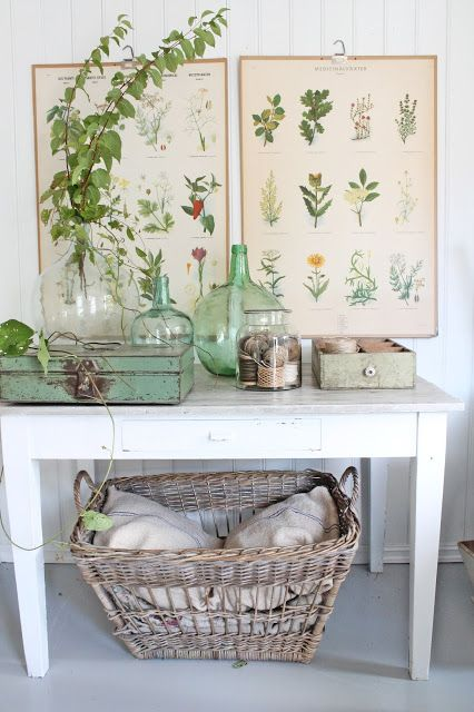 Table vignette with vintage wicker, green glass and botanical prints