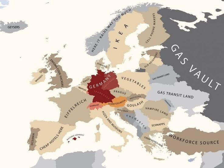 """Europe according to Germany"" - Funny map illustration by Bulgarian modern artist Yanko Tsvetkov."