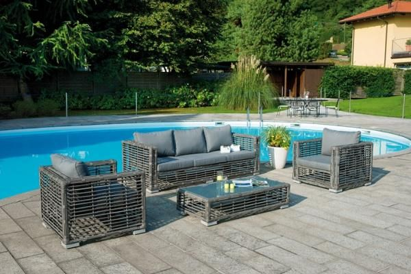 Lignano, All Weather Wicker Garden Lounge Suite with Ash Colour Cushions