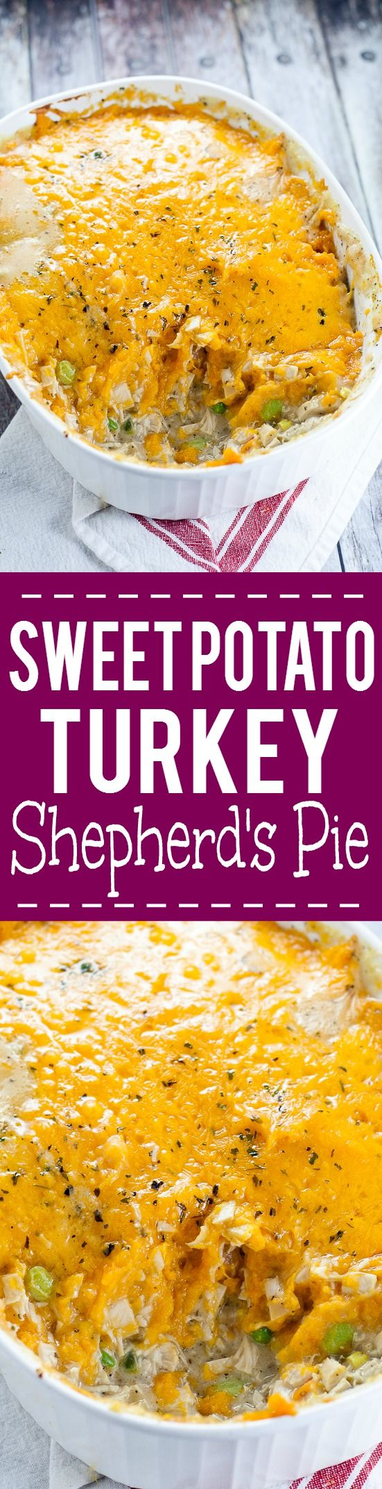 Sweet Potato Turkey Shepherd's Pie recipe with mashed sweet potatoes and turkey and veggies in a creamy gravy.Cozy, sweet and savory, this Sweet Potato Turkey Shepherd's Pie recipe is a great way to use up Thanksgiving leftovers in a warm delightful casserole.